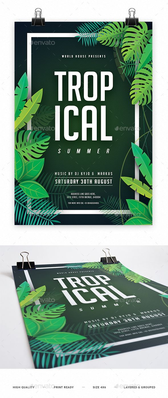 Tropical Summer Night Party Flyer Template PSD. Download here: https://graphicriver.net/item/tropical-summer-night-party-flyer/17318019?ref=ksioks