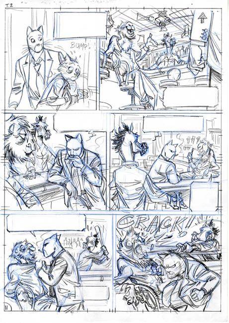 Blacksad 4, crayonné de planche 69 (page 12)