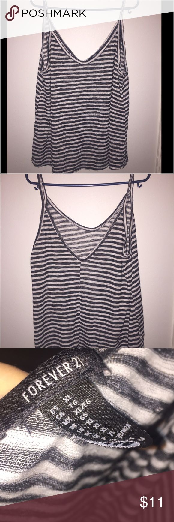 Striped Blouse Black and white horizontal striped blouse with spaghetti straps -Never worn- Forever 21 Tops Tank Tops