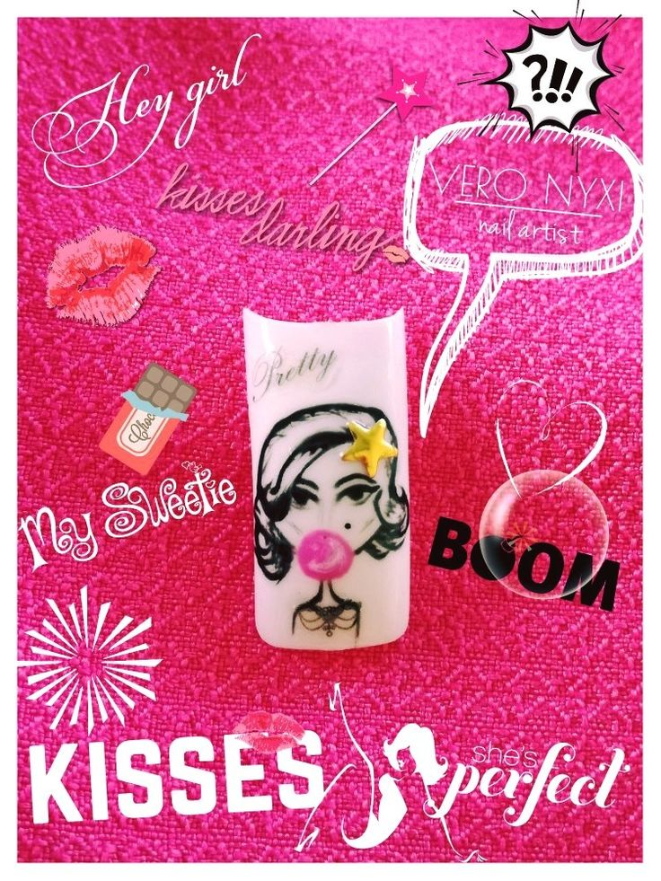 • My pretty girl #nail#art#chewinggum#myprettygirl#drawing#handpainted