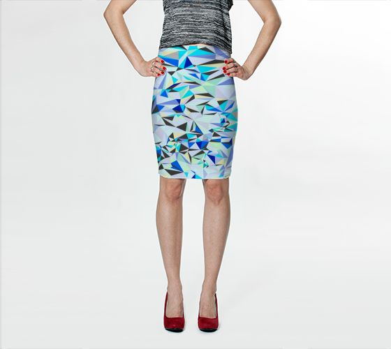 "Fitted Skirt ""BLUE+GREY"" by Jenny Mhairi"