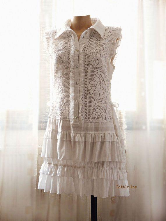 Romantic Dress, Bohemian Dress, Art to Wear, Shabby Chic Dress, Cottage style, Rustic, Linen Dress, Boho Style, Vintage crochet