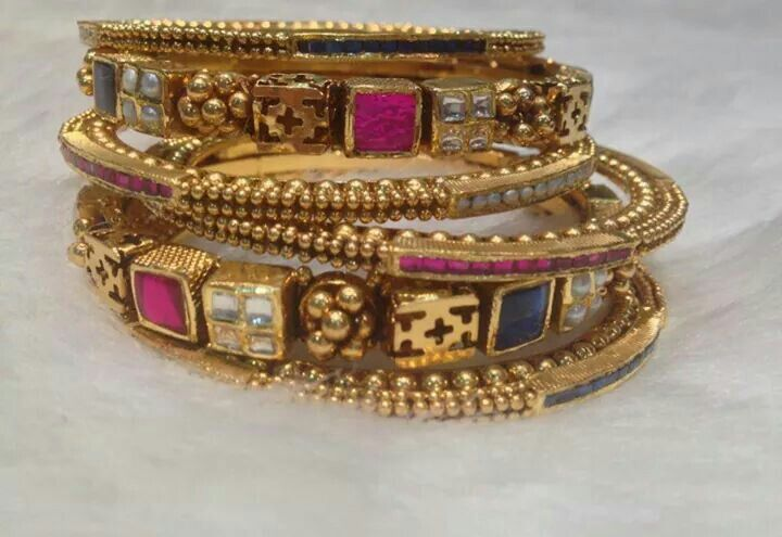 Indian bangles in gold and precious stones. Shop for your wedding jewellery with Bridelan - a personal shopper & stylist for weddings, also a resource for finding rare jewels of India. Website www.bridelan.com #Bridelan #southindianjewellery
