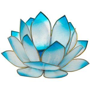 Bougeoir forme lotus du soleil levant couleur Turquoise.  Bougeoir en forme de lotus pour bougies type 'chauffe-plat'.  Composé de 3 rangées de pétales, il a un beau volume. Son aspect semi-métallique donnera de jolis jeux de lumières avec la flamme des bougies.