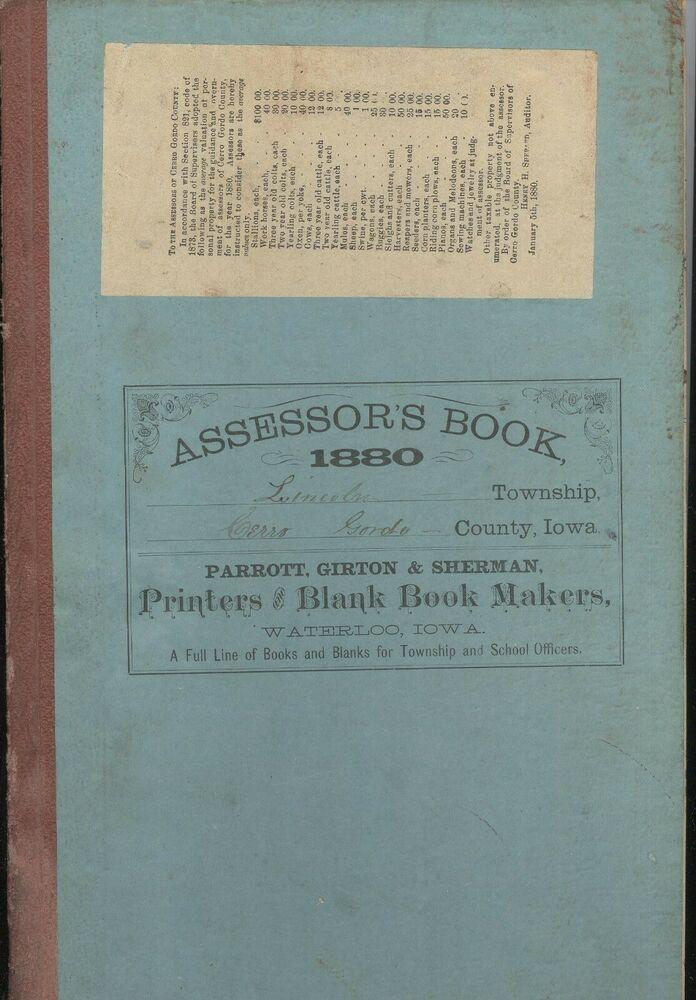 1880 Lincoln Township Assessors Records Cerro Gordo County Iowa Mason City Iowa Iowa