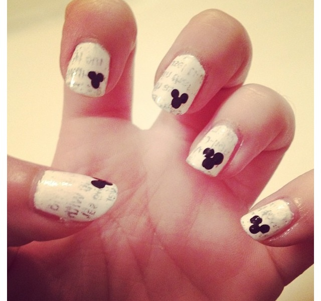 Newsprint Mickey Mouse nails