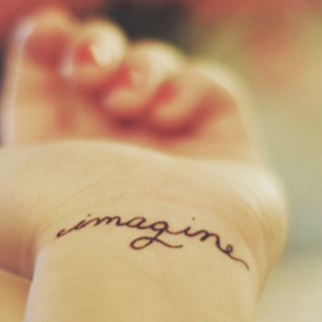 """""""imagine"""" tattoo. But with white ink"""
