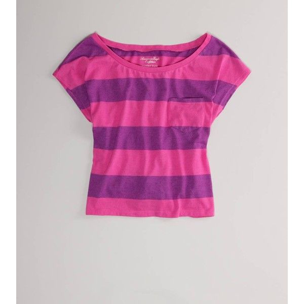 Ae Striped Feather Light T ($10) ❤ liked on Polyvore featuring tops, t-shirts, shirts, stripes, cheshire, jewel purple, tee-shirt, purple t shirt, jersey t shirts and t shirts