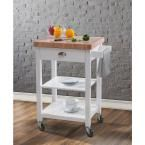 Bedford White Kitchen Cart With Butcher Block Top, Paint