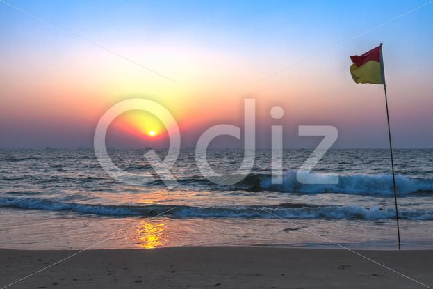Qdiz Stock Photos | Sunset at sea beach,  #afterglow #arabian #beach #calm #coast #coastline #decline #dream #dusk #evening #fall #flag #goa #horizon #india #mood #nature #ocean #reflection #sand #sea #seascape #set #shore #sky #summer #Sun #sundown #Sunset #tranquility #twilight #water #wave #wet #wildlife