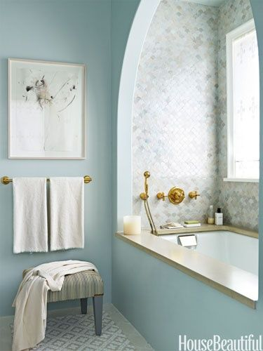 Perfect The custom watery blue of the polished Venetian plaster walls picks up the blue in the