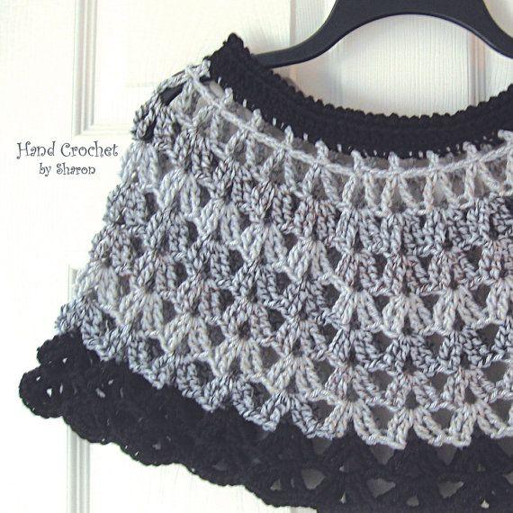 Crochet Capelet, Shoulder Warmer, Black Poncho, Crochet Gray Wrap ...