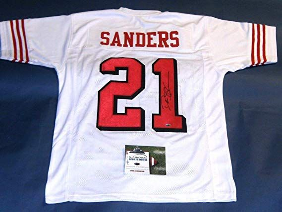 Deion Sanders Autographed San Francisco 49ers Throwback 75th Jersey Aash San Francisco 49ers 49ers 49ers Throwback Jersey