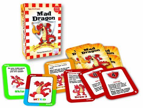 Great game to help children address anger issues: Mad Dragon: An Anger Control Card Game Therapy Game.