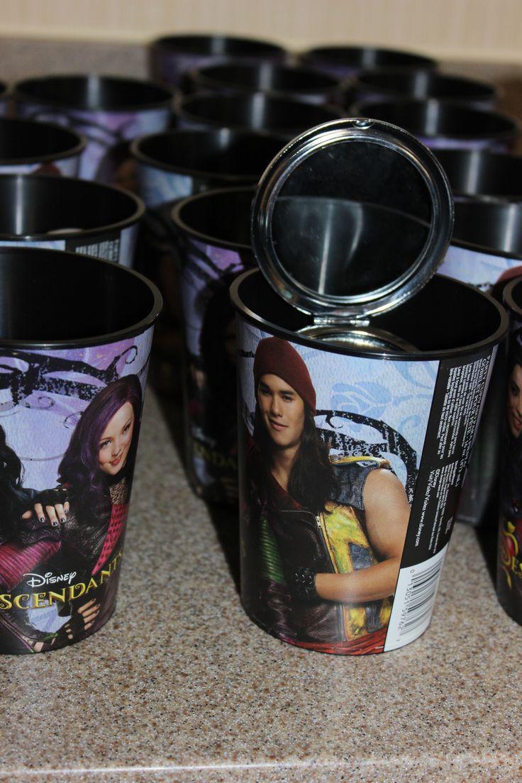Disney Descendants party favors, cups and magic mirrors
