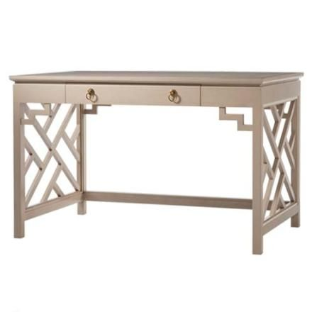 Trellis Writing Table  (88-842)  Trellis end supports add Draper style to this writing desk. There is one pencil drawer with ring pull hardware that is standard. Painted accents are available for an extra charge.    As Shown: Finished in Brushed Putty (252) and Cream (54)