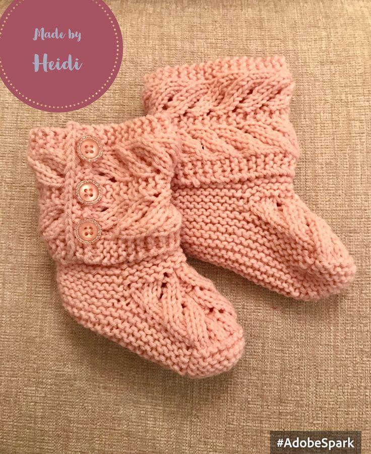 Neulotut tossut tytölle / Knitted booties for girl DIY