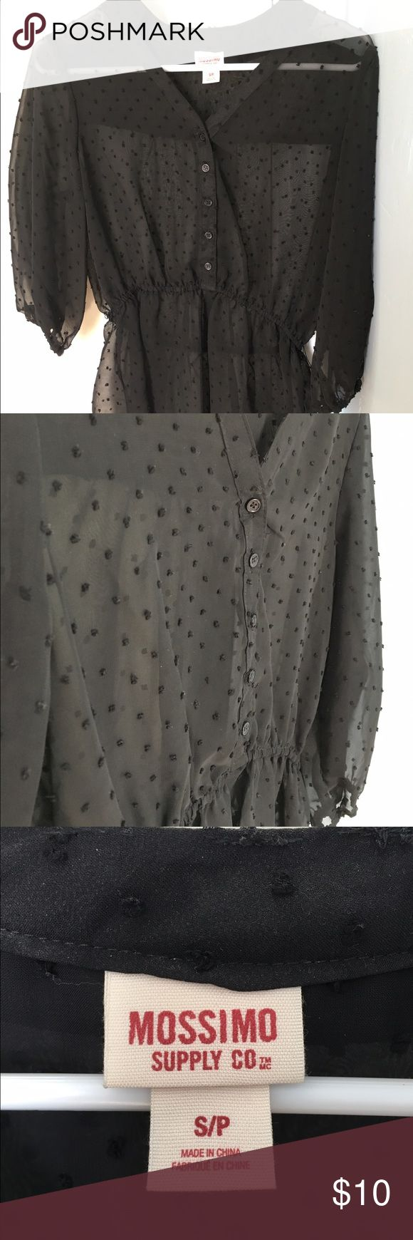 NWOT Mossimo Supply Co Black Swiss Dot Blouse Mossimo Supply Co Black Swiss Dot Blouse. Size Small. Elastic Waist. 100% Polyester. Mossimo Supply Co Tops Blouses