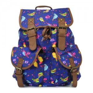 Plecak vintage Salomea /bird granatowy/ unisex