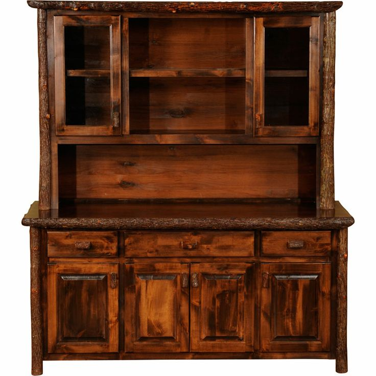 Rustic dining hutch rustic hickory 75 buffet hutch for Dining room hutch canada