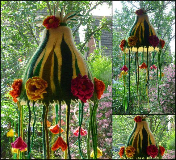 felted flower lamp bedside lamp lamp shade by FeltedArtToWear