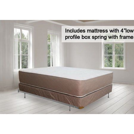 Continental Sleep 14 Inch Fully Assembled Innerspring Double Sided Firm Mattress And 4 Inch Box Spring With Frame King Size Mattress Mattress Sets King Bedroom Sets