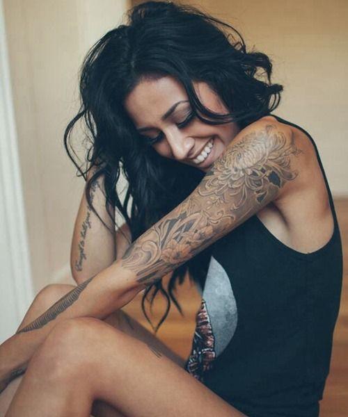 Amazing female cross tattoos sleeve photos
