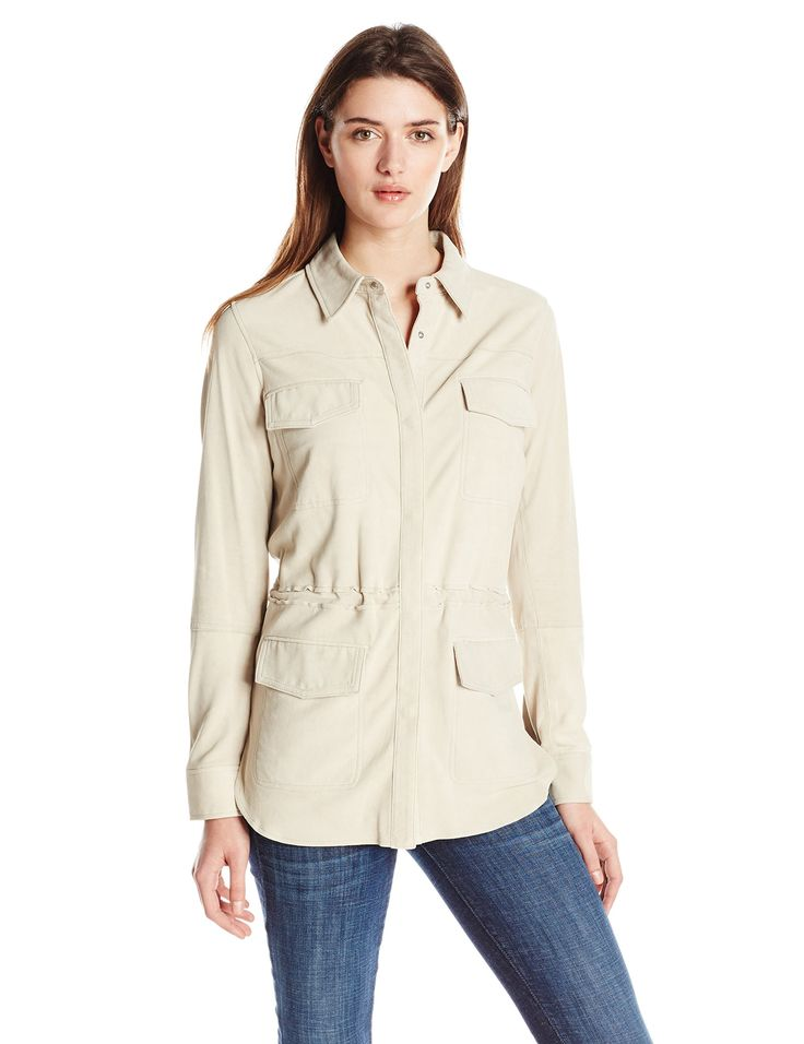 Vince Women's Nubuck Safari Shirt Jacket, Marzipan, Small. Easy fit through body. Seam details and constructed front flap pockets create flattering lines.