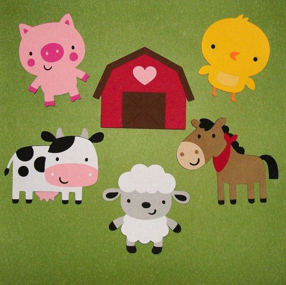 SIX Large Farm Animal Die Cuts ... paperpieced by APaperPlayground, $7.50 Great for Diaper Cake decorations