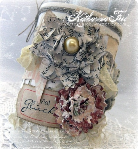 Vintage Altered Can with Paper Flowers