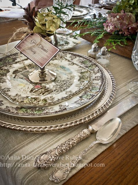 FALL/THANKSGIVING, SPECIAL OCCASION:: CHINA, PLACE SETTINGS, ACCENTS ~~ Far Above Rubies: Friendly Village Thanksgiving @Ana Maranges Diaz