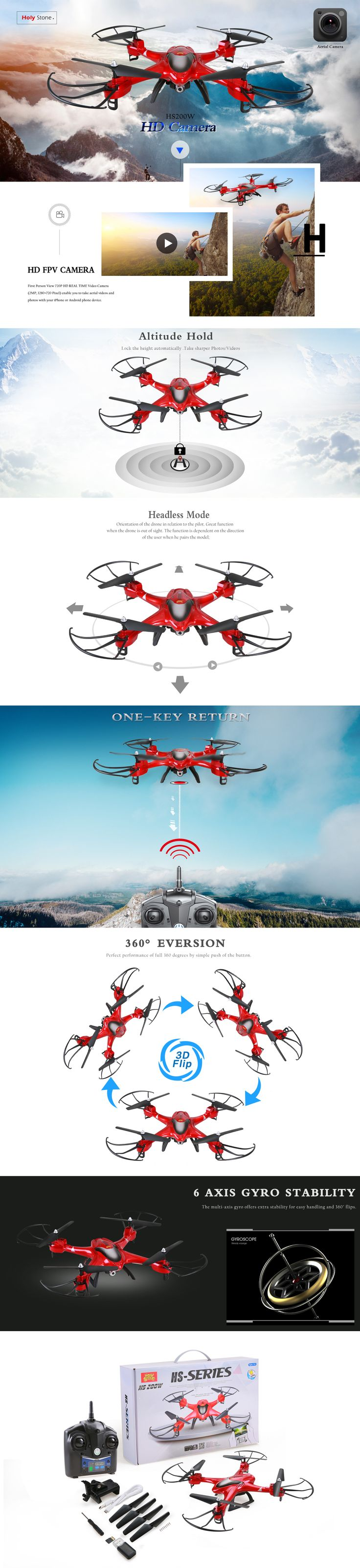 Holy Stone HS200W FPV Drone with 720P HD Live Video Wifi Camera 2.4GHz 4CH 6-Axis Gyro RC Quadcopter with Altitude Hold, Gravity Sensor and Headless Mode Function RTF, Color Red - Holy Stone|Buy Drones & Quadcopters for sale Online|Best RC Drone Helicopter with Camera