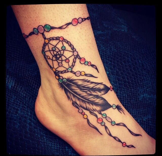 Gorgeous Ankle Bracelet Tattoo Ideas For Women Of All Ages: Dream Catcher On Ankle