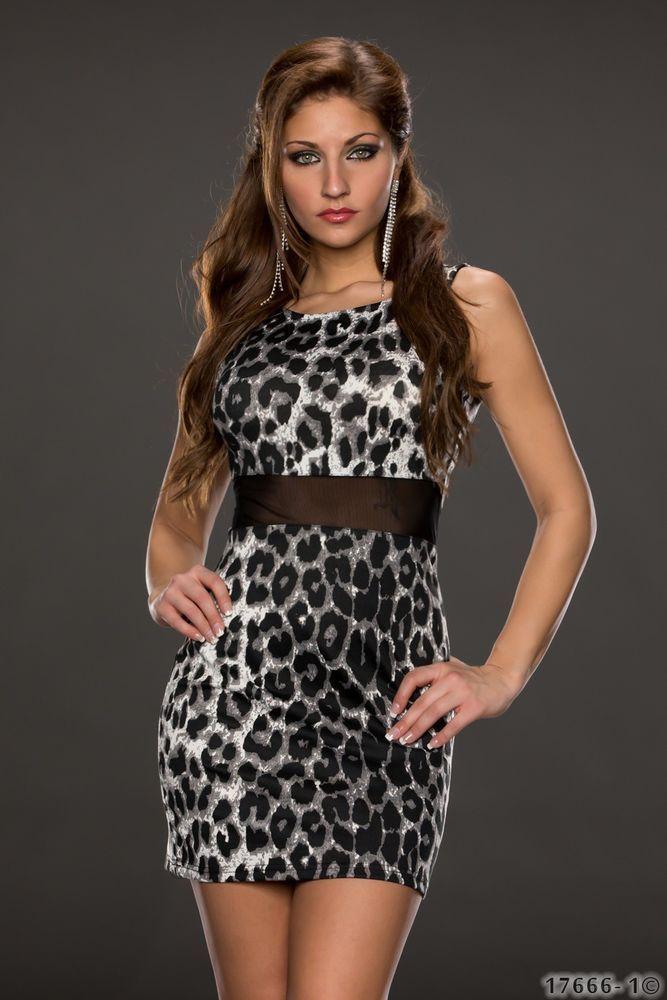 Sexy Etuikleid mit Leoparden Muster Gr. 36 NEU Minikleid Kleid schwarz grau Leo