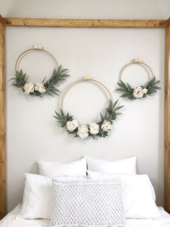 Large Ivory Peony and Eucalyptus Wreath Set of Three. Wedding Backdrop. Nursery