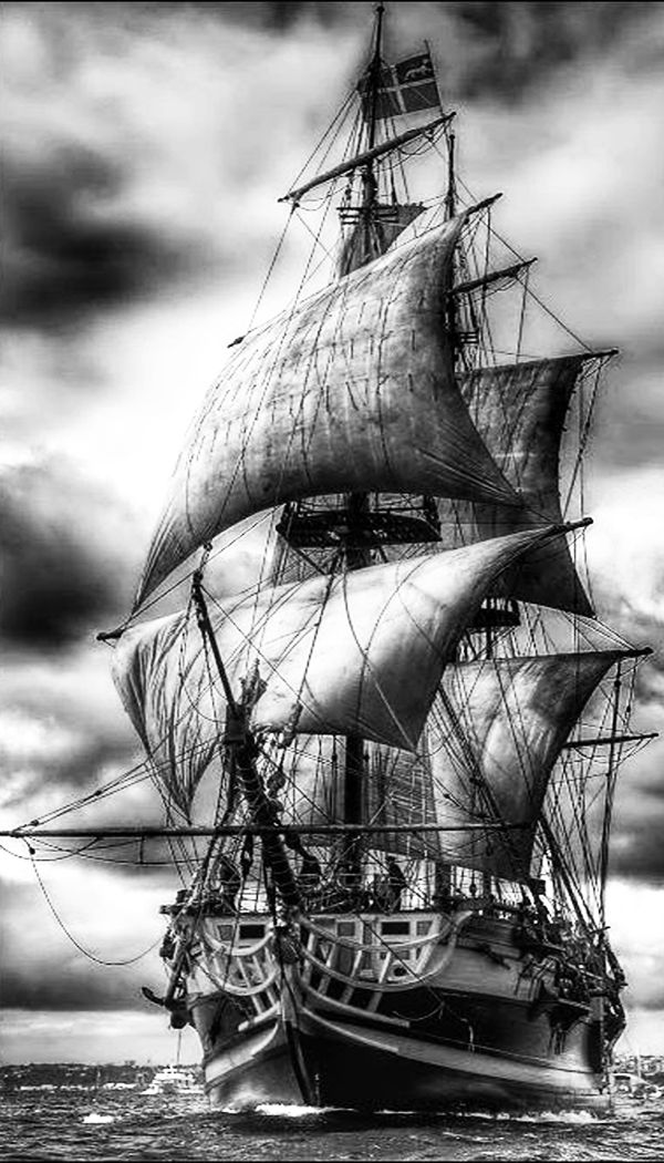 fantastic black and white picture of this tall ship. love the lighting contrast with the clouds in the sky