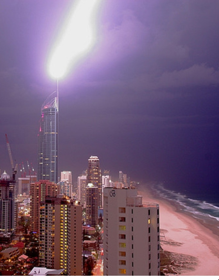 Lightning Strike Q1 Surfers Paradise, Gold Coast, Queensland Australia. 24th October 2005.