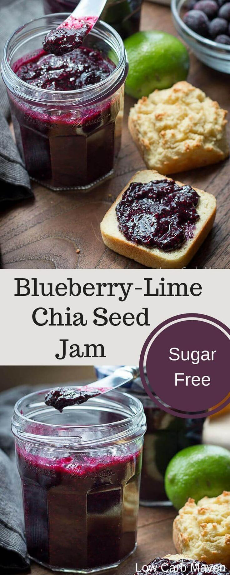 A tangy sugar-free blueberry jam thickened with chia seeds and flavored with lime. This no pectin jam is absolutely delicious and perfect for any low carb keto diet.
