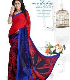 Buy Red printed georgette saree with blouse georgette-saree online