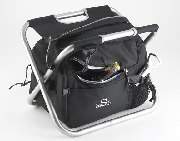 Very cool - the Personalized Sit 'n Sip Cooler is 1/2 cooler, 1/2 chair. Great for camping or tailgating.