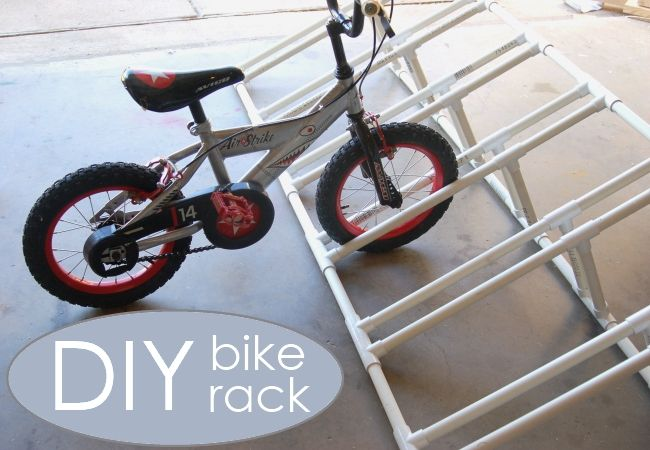 How to make a bike rack for kids - we were able to clean up our garage BIG time with this easy-to-make rack