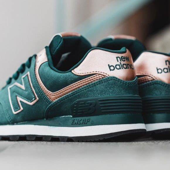 New Balance 574 sneakers in emerald and rose gold   Sneakers, New ...