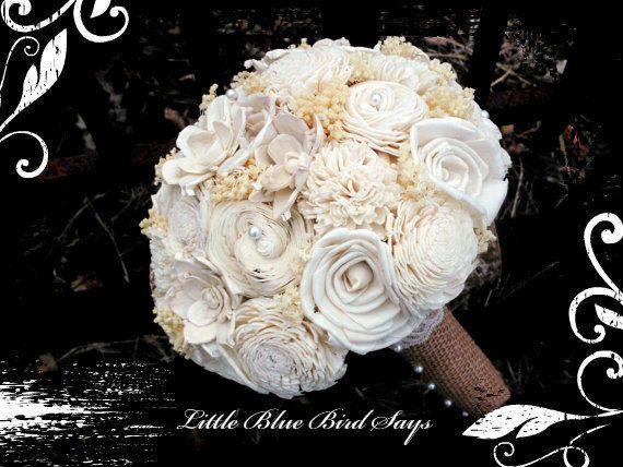 Rustic bridal bouquet Sola bouquet wedding by LittleBlueBirdSays