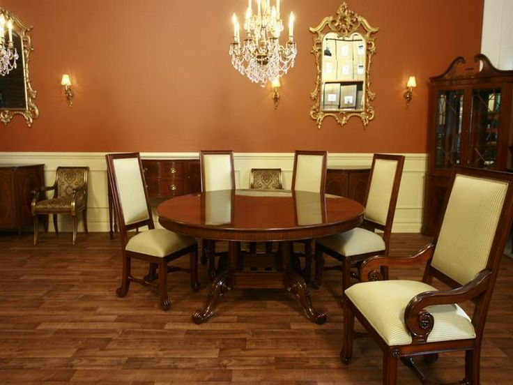 Classic Wooden Round Dining Table Design 5 Chairs With Mirror And Chandelier Leaf Black Home