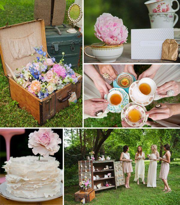 retro outdoor tea party bridal shower themes 2014