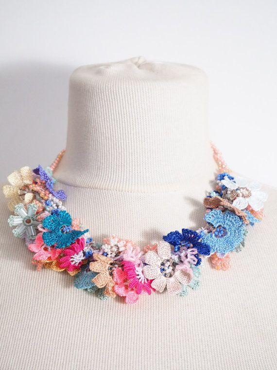 Crochet necklace,Crochet lace, Multicolor Necklace,Turkish Oya, Multicolor Necklace,Beads necklace, Crochet oya necklace 141