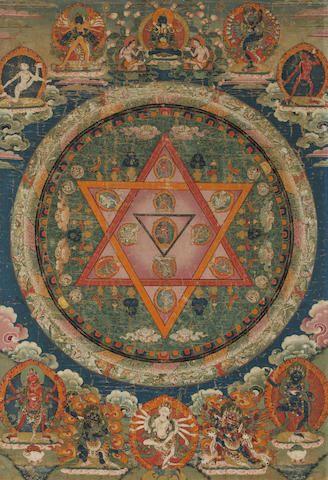 Tibetan Buddhist Thangka of Vajrayogini Mandala, Central Tibet, 18th century, Tibet