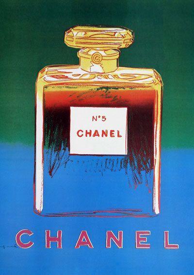 Chanel No 5 No5 n. 5 Andy Warhol blu verde stampa Poster - Pop Art, francese, Vintage, Art Deco