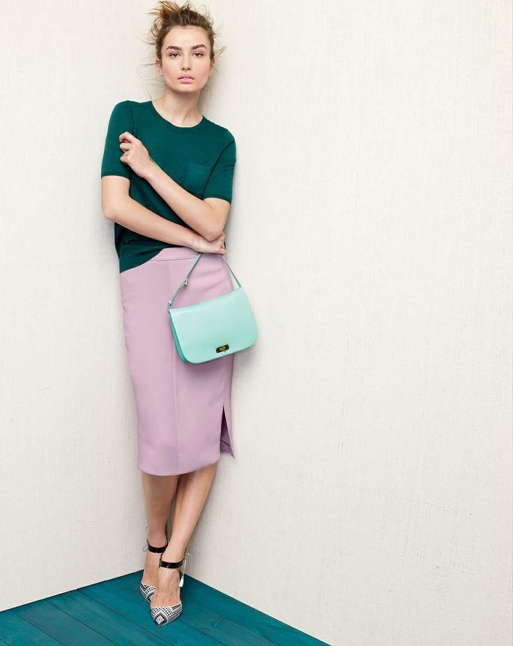 J.Crew Collection featherweight cashmere pocket tee sweater and soft pencil skirt.  - May 2014