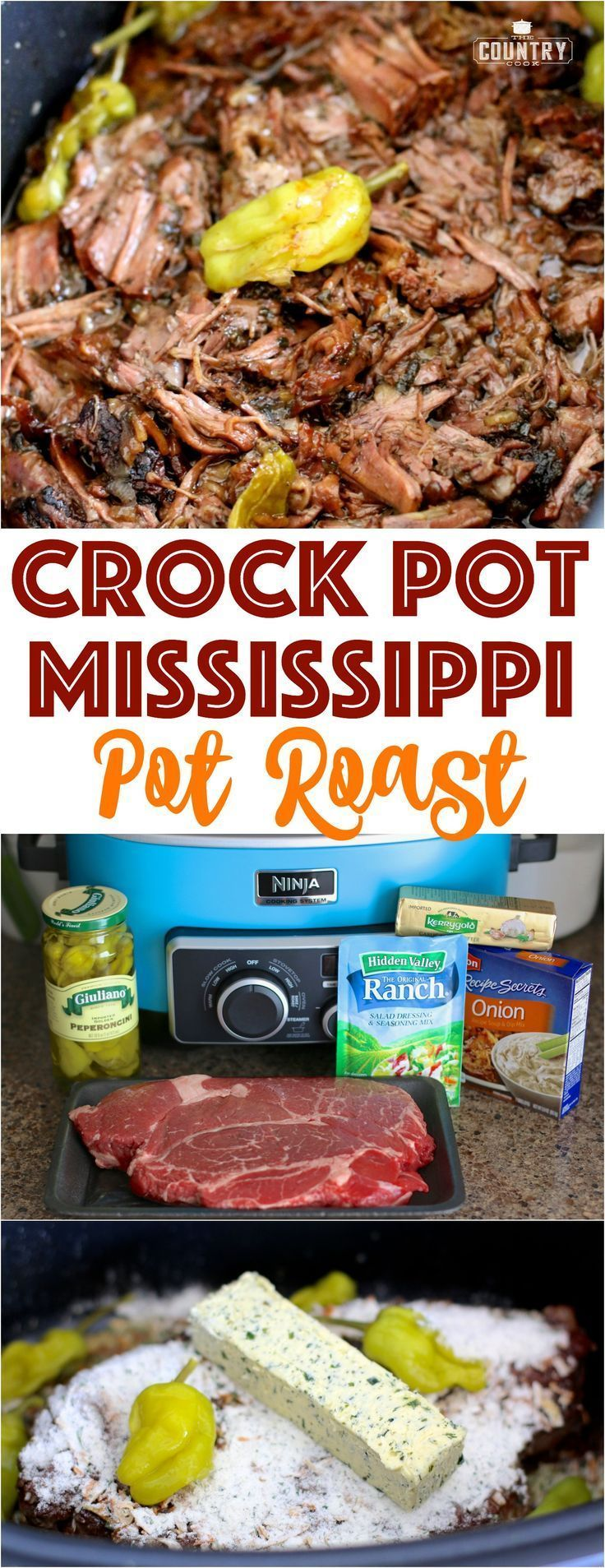 Crock Pot Mississippi Pot Roast recipe from The Country Cook